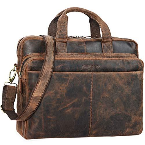 STILORD 'Verus' Vintage Ledertasche groß Aktentasche Laptoptasche Umhängetasche mit Reißverschluss und abnehmbaren Schultergurt Lehrertasche Leder, Farbe:Sepia - braun