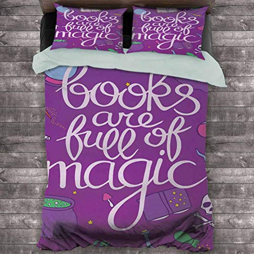 Book 3-Pack (1 Duvet Cover and 2 Pillowcases) Books are Full of Magic Wording Printed on Purple Background with Objects of a Witch Polyester (Full) Multicolor