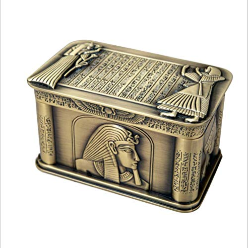 Shopps La Caja de Almacenamiento de joyería Cuadrada Retro de Metal Egipcio Antiguo, artesanía Antigua Vintage, artesanía Exquisita, se Puede Utilizar para Collares, aretes, Anillos, broches, etc.