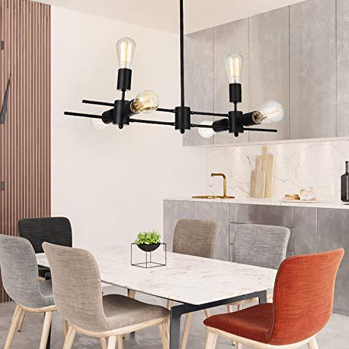 Lampada a sospensione lampada a sospensione nera a 6 fiamme in metallo nera soggiorno sala da pranzo E27 lampada da tavolo da pranzo interna lampadario design industriale retrò bar caffè