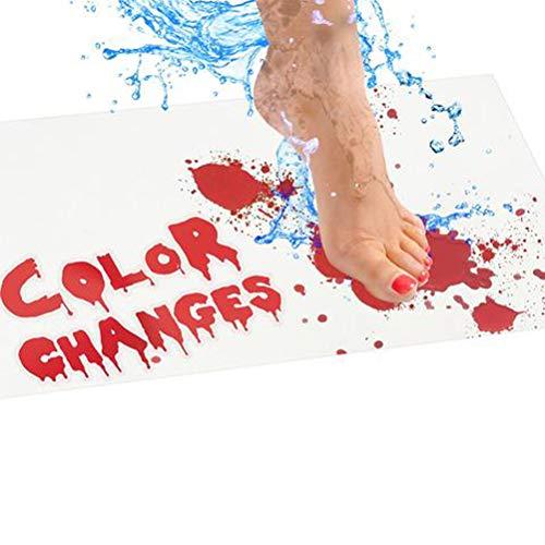 LifeBest Halloween Badematte Farbwechsel Blatt Wird rot, wenn nass für Dusche Badezimmer Horror Bloody Footprints Badematte Fußmatte Aufregende Duschmatte für Dusche Badezimmer