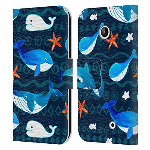 Head Case Designs Licenza Ufficiale Haroulita Balena Blu Animali Cover in Pelle a Portafoglio Compatibile con Nokia Lumia 630