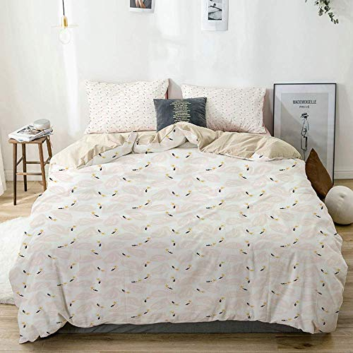 Totun Duvet Cover Set Beige,Swan Childish Doodle Pastel Print,Decorative 3 Piece Bedding Set with 2 Pillow Shams Easy Care Anti-Allergic Soft Smooth