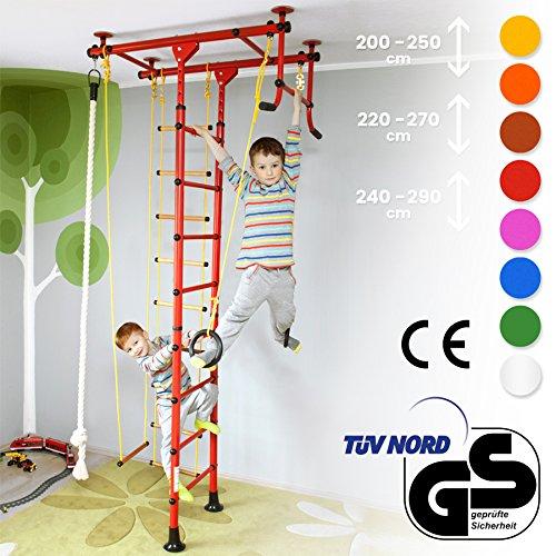NiroSport FitTop Klettergerüst Indoor für Kinder in Weiß/Holzsprossen/TÜV geprüfte Indoor Sprossenwand für Kinderzimmer/leicht montierbare Kletterwand/Turnwand für max. Belastung bis 130 kg