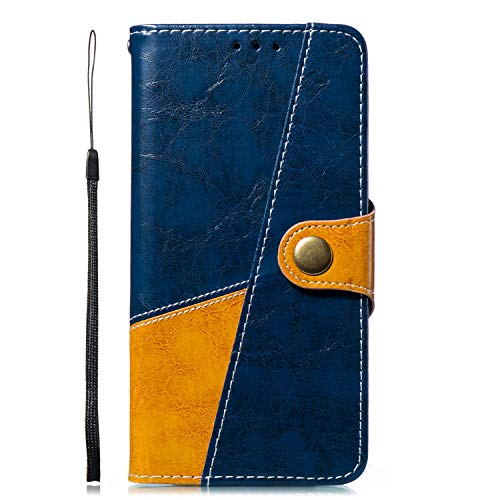 Uposao Kompatibel mit Handyhülle Huawei P20 Pro Ledertasche Handytasche Leder Handyhülle Case Cover Ultradünn Book Lederhülle Wallet Klapphülle Flip Case Silikon Backcover Ständer,Braun Blau