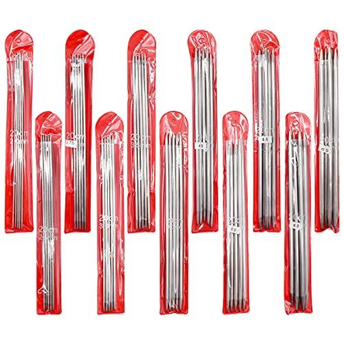Agujas de Tejer Doble Punta,DBAILY 55pcs 20CM de Acero Inoxidable de Doble Punta con Bolsa para Tejer Hechas a Mano Creativas(2.0mm 2.5mm 2.75mm 3.0mm 3.5mm 4.0mm 4.5mm 5.0mm 5.5mm 6.0mm 6.5mm)