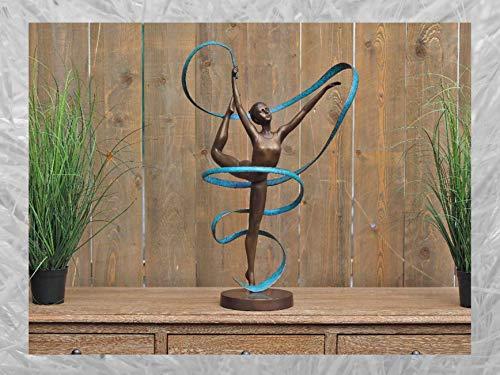 IDYL Escultura de bronce de tornea con cinta, 89 x 27 x 47 cm, clásica figura de bronce hecha a mano, escultura de jardín o decoración de salón, artesanía de alta calidad, resistente a la intemperie