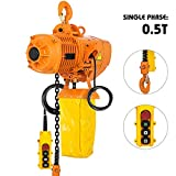 VEVOR 1/2 Ton Industrial Electric Chain Hoist Single Phase 1100Lbs 10ft Lift Height Electric Chain...