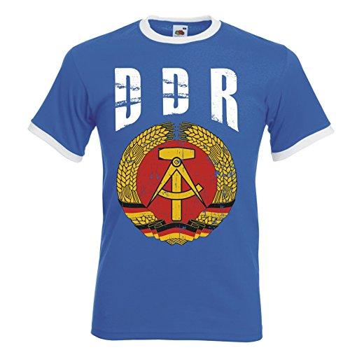 DDR Deutschland Ringer Herren T-Shirt Trikot Fußball WM 2018 T-Shirt - S M L XL XXL -Blau D01 (L)