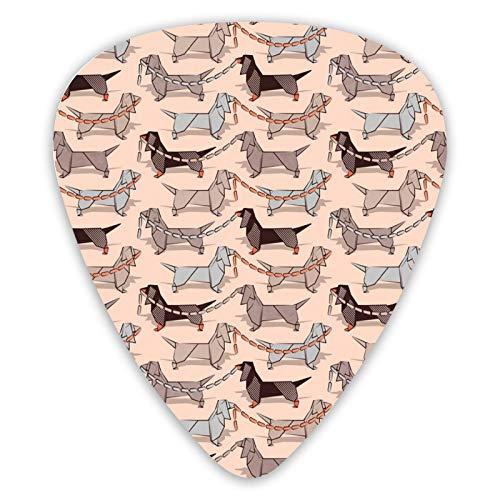 6 púas de guitarra para perros salchichas de origami salchicha salchicha para guitarra eléctrica, acústica o bajo, patrón, triángulos
