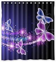 X-Labor Tier Motiv Duschvorhang Wasserdicht Stoff Anti-Schimmel inkl 12 Duschvorhangringe Waschbar Badewannevorhang 180x180cm Schmetterling