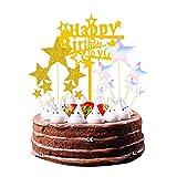 Yue Qin Happy Birthday Cake Decoration Topper Cumpleańos,Decoración para Tarta Topper Cake Personalizado para Cumpleaños Fiesta Temática Party Decoration
