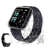 Smartwatch,DIFEE Reloj Inteligente IP68 con Correa Reemplazable Pulsómetro,1.3 Inch Pantalla Táctil Reloj Inteligente Pulsera Actividad con Monitor de Sueño, Presión Arterial para Mujer Hombre-Negro