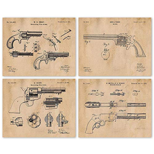 Vintage Smith & Wesson, Colt Guns Patent Poster Prints, Set of 4 (8x10) Unframed Photos, Wall Art Decor Gifts Under 20 for Home, Office, Shop, College Student, Teacher, Cowboys, NRA & Movies Fan