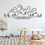 Interesante paisaje de montaña pegatinas de arte pegatinas de pared de moda moderna habitación de los niños decoración natural Mural pegatinas de pared A9 M 30x80cm