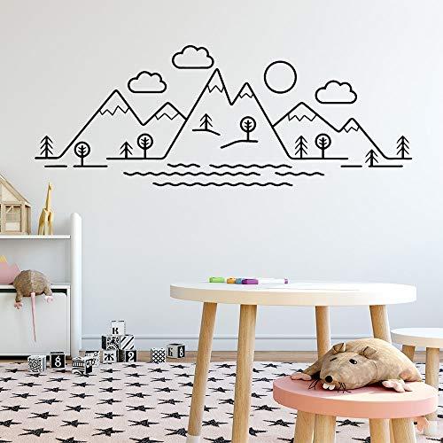 Interesante paisaje de montaña pegatinas de arte pegatinas de pared de moda moderna habitación de los niños decoración natural pegatinas de pared mural otro color M 30x80cm