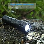 Flashlights, LED Tactical Flashlight S1000 - High Lumen, 5 Modes, Zoomable, Water Resistant, Handheld Light - Best… 14 Super lighting: S1000 High lumen flashlight LED bulb provides bright light, easily light up an entire room or focus in on objects up to 1000 feet away! Conveniently takes 3 standard AAA batteries or 1x18650 rechargeable button top Li-ion battery. (Batteries are not included. ) 5 modes: fit in your pocket, backpack, or purse allowing, survival bag, or car glove compartment for easy storage and quick access. Focus in or zoom out to sweep a large area. 5 settings replace the need for multiple flashlights: (high medium low strobe SOS) makes for a practical addition to any household or emergency kit. Adjustable focus our flashlights utilize the latest durable CREE XML T6 LED chip, provides super bright light beam. Easy-controlled head-pulling zoom and easy mode-switch by light taps of button. Adjustable focus for use in different situations (just rotate torch head to adjust zoom)