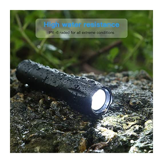 Flashlights, LED Tactical Flashlight S1000 - High Lumen, 5 Modes, Zoomable, Water Resistant, Handheld Light - Best… 7 Super lighting: S1000 High lumen flashlight LED bulb provides bright light, easily light up an entire room or focus in on objects up to 1000 feet away! Conveniently takes 3 standard AAA batteries or 1x18650 rechargeable button top Li-ion battery. (Batteries are not included. ) 5 modes: fit in your pocket, backpack, or purse allowing, survival bag, or car glove compartment for easy storage and quick access. Focus in or zoom out to sweep a large area. 5 settings replace the need for multiple flashlights: (high medium low strobe SOS) makes for a practical addition to any household or emergency kit. Adjustable focus our flashlights utilize the latest durable CREE XML T6 LED chip, provides super bright light beam. Easy-controlled head-pulling zoom and easy mode-switch by light taps of button. Adjustable focus for use in different situations (just rotate torch head to adjust zoom)