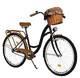 Milord Bikes Bicicleta de Confort Negro y marrón de 1 Velocidad y 26 Pulgadas con Cesta y Soporte...