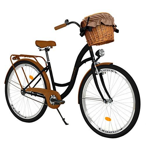 Milord Bikes Bicicletta Comfort Nero - Marrone a 1 velocità da 28 Pollici con cestello e Marsupio Posteriore, Bici Olandese, Bici da Donna, City Bike, retrò, Vintage