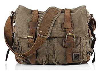 Sechunk Vintage Military Leather Canvas Laptop Bag Messenger Bags Medium (Army Green)