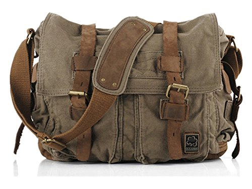 Sechunk Canvas Leather Messenger Bag Shoulder Cross Body Men Military Travel Laptop Camera Purse small-13''