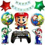 SUNSK Geburtstagsballons Folienballon Party Luftballon für Super Mario Happy Birthday Girlande Mario Bros Geburtstag Deko-Luftballon Balloons Set 10 Stück