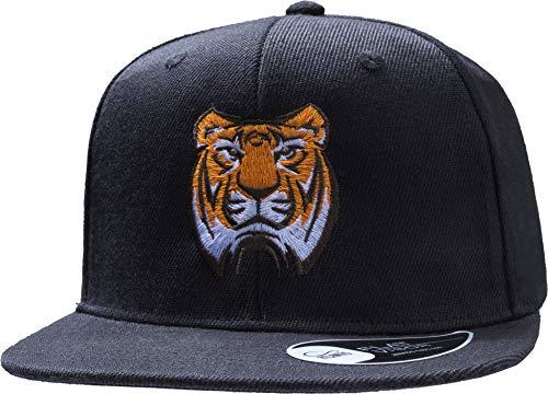 Kinder Cap: Tiger - Mütze für Kinder Geschenk für Junge-n & Mädchen - Löwe Lion Dschungel Kleiner - Kappe Baseball-Cap Basecap - Kinder-Geburtstag Schule Sport Sonnenschutz (One Size Schwarz)