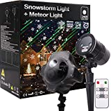 Christmas Light Projector, Galaxy Meteor Shower Projector and Snowstorm Light Snow Flake Falling Projector, for Halloween Xmas Wedding Birthday Party Landscape Garden Yard House Home Decoration
