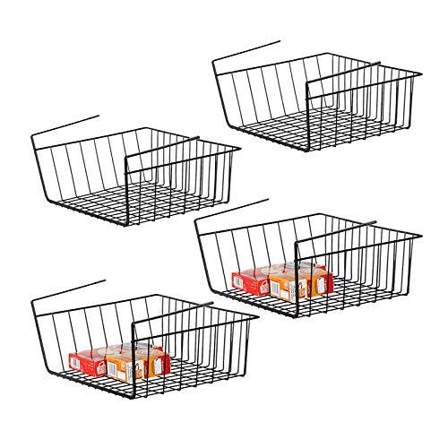 NEX Under Shelf Basket Set of 4 Under Cabinet Basket Storage Shelf Hanging Basket Organizer for Pantry 1515 x 1102 x 59 inches Black