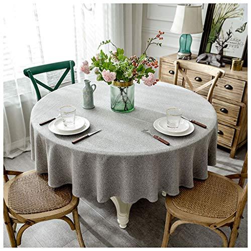 MeiMei Tissu Gris de Cabinet de la Nappe TV de la Table TV d'hôtel de Nappe Ronde de Coton et de Lin de Tissu Gris Moderne (Taille : 140CM)