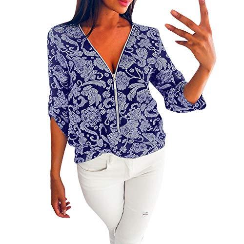 SALUCIA Damen Unifarben V Ausschnitt Langarm Lang Bluse Shirt mit Reißverschluß Casual Lockere Karo Longbluse Hemd Tunika Oberteile Top