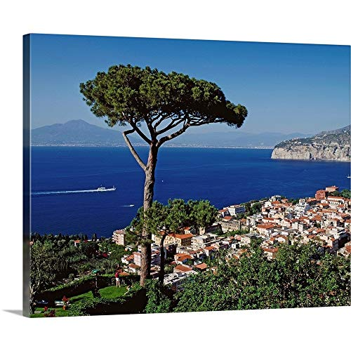 "Italy, Campania, Peninsula of Sorrento, Sorrento, Gulf of Naples Canvas Wall Art Print, 14""x11""."