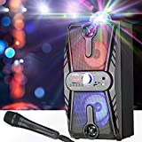 VerkTop Karaoke Machine for Kids & Adults Portable PA System Rechargeable Wireless Bluetooth Speaker with Disco Ball&Wired Microphone for Party/Wedding/Meeting/Performance