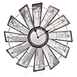 "Besti Rustic Metal Windmill Wall Clock (14.5"") Vintage Country Farmhouse Decor for Kitchens, Living Rooms 