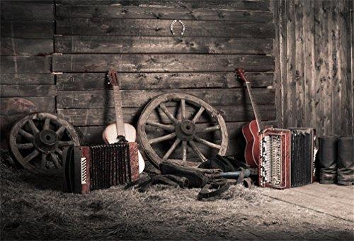 YongFoto 1,5 x 1 m polyester foto achtergrond oude schuur Western Cowboy Vintage fiets laarzen gitaar strofotografie achtergrond voor fotoshooting portretfoto's party kinderen fotostudio rekwisieten