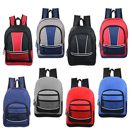 24 Pack - 17 Inch Wholesale Sport Bulk Backpacks in 8 Assorted Styles - Case of Bookbags