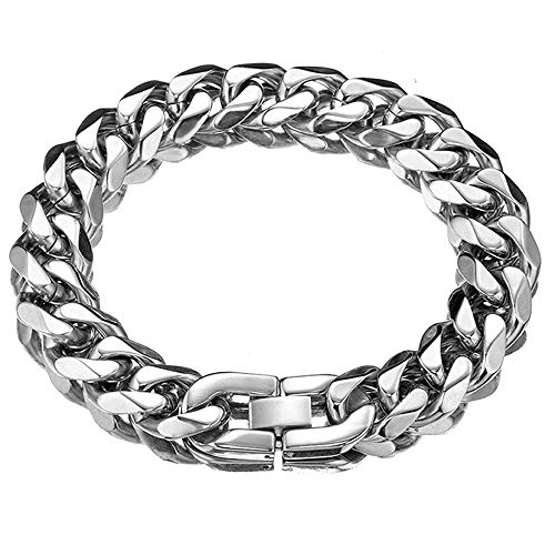 Jxlepe Cuban Link Chain Bracelet Xxxt. Adjustable Choker with Tail Hip Hop Miami 15mm Big Stainless Steel Curb Rapper Necklace for Men (8)