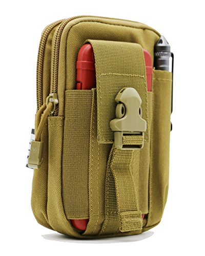 LefRight Tactical Molle Pouch EDC Utility Gadget Belt Waist Bag with Smart Phone Holster Holder for iPhone 6s Plus (Khaki)