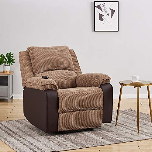 Electric Recliner Jumbo Cord Fabric And Faux Leather Recliner Reclining Armchair Lounge Home Recline Chair for Living Room Bedroom, Electric Single Sofa Adjustable Armchair (Brown - Electric Recliner)
