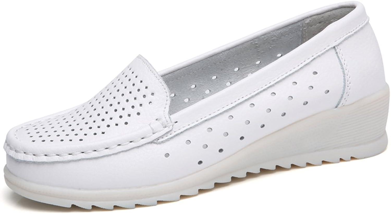 ZYEN Women's All White Nursing shoes Comfortable Slip On Nurse Work Wedge Leather Loafers