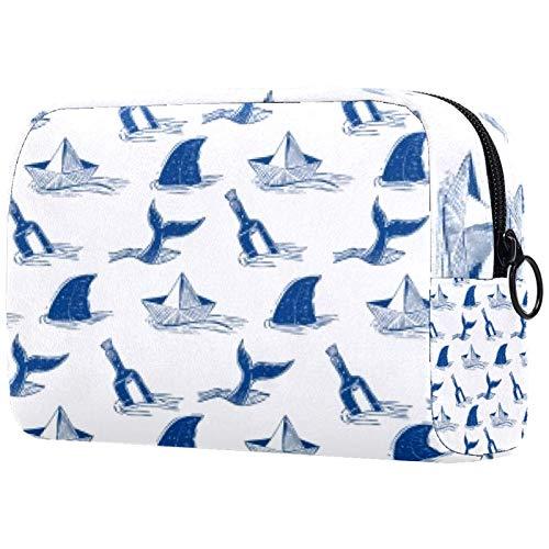 Cuchillo y tiburón portátil maquillaje bolsas bolsa de cosméticos impresa,bolsa de cosméticos para mujeres bolsa de cosméticos de viaje