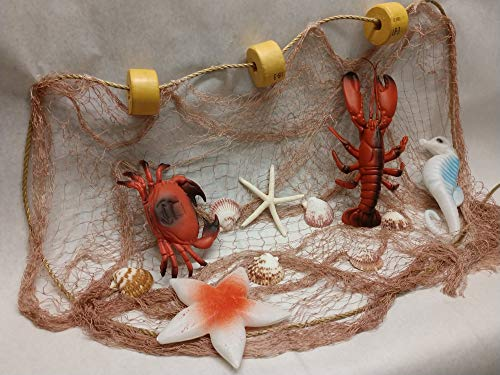Fishing Net 12 Ft X 8 Ft TAN Decorative Nautical Fish Netting with White Starfish, Scollop Shells, Floats, Lobster, Crab, Starfish and Seahorse, Authintic Fishing Net