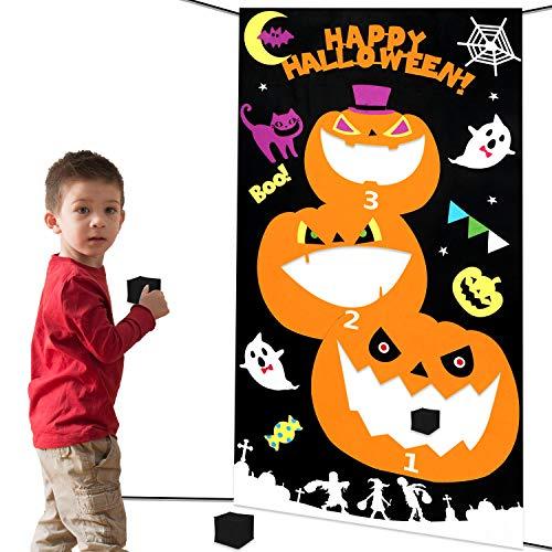 HOWAF Halloween Bean Bag Toss Games, Halloween Indoor Outdoor Throwing Games Pumpkin Hanging Toss Game for Kids Halloween Party Decoration, Pumpkin, Ghost, Black Cat, Bat, 3 Bean Bags