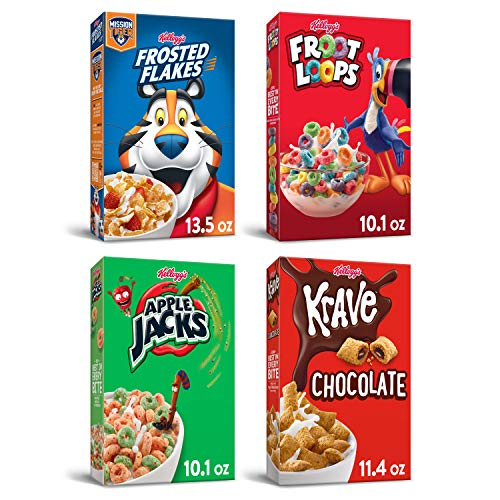 Kellogg's Product title Breakfast Cereal Variety Bundle Froot Loops 10.1oz, Frosted Flakes 13.5 Oz, Krave 11.4oz, & Apple Jacks 10.1oz, Original 45.1 Ounce (Pack of 4)