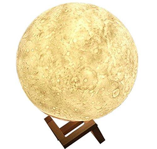 QMMCK 3D maan tafellamp 13 cm diameter Cicular Usb opladen 2000 Ma Deak lamp dimbaar instelbare led-licht zonder peertjes eenvoudige controle thuis en kantoor