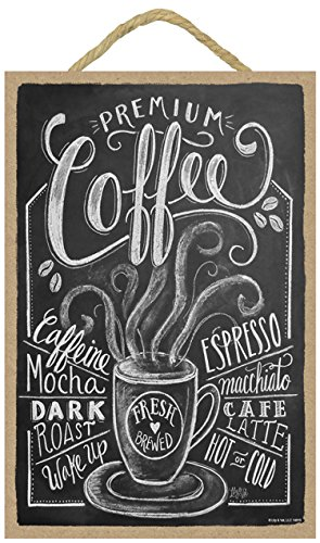SJT ENTERPRISES, INC. Coffee (Black with White Lettering) 7' x 10.5' Wood Plaque Sign Featuring The Chalk Artwork of Ampersand (SJT14815)
