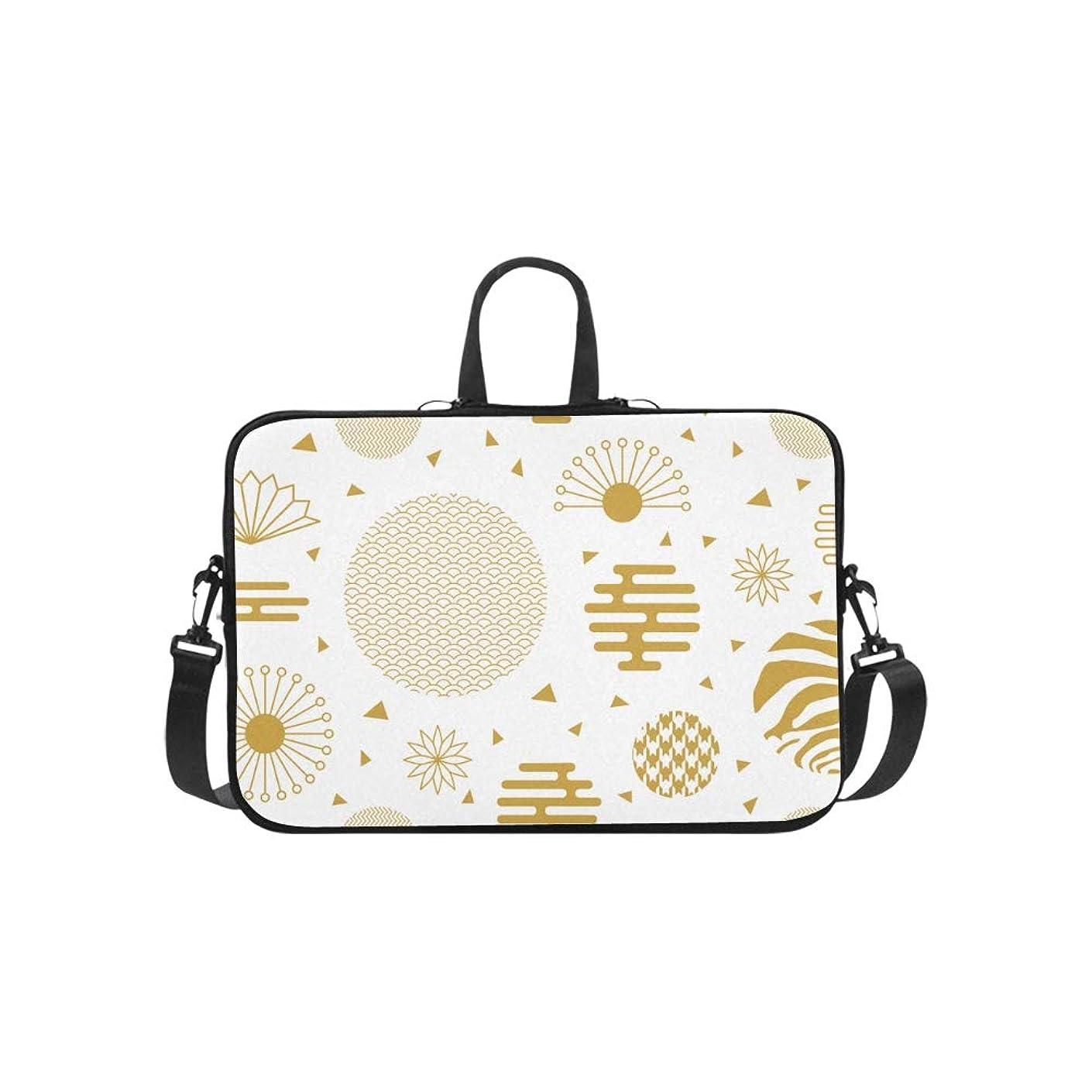 Asian Style Holiday Blessing Fan Pattern Briefcase Laptop Bag Messenger Shoulder Work Bag Crossbody Handbag for Business Travelling