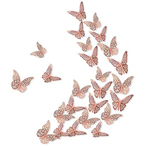 Timagebreze Pegatinas de Pared para BebéS Pegatinas de Pared de Mariposas en 3D DecoracióN de Bodas de Oro Rosa Fiesta Regalo de Bricolaje, 72 Piezas