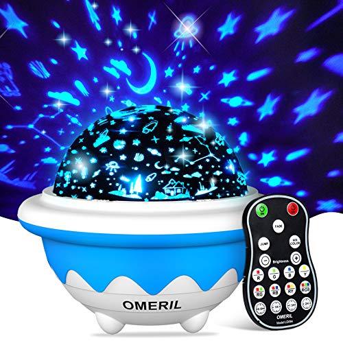 OMERIL Lámpara Proyector Infantil, Luz Estrellas para Niños con 8 Modos, Proyector Estrellas con 3 Películas de Proyección y Mando, Luz Nocturna para Navidad, Cumpleaños, Habitación